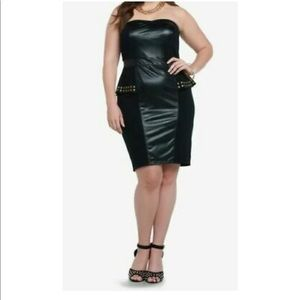 Torrid Black Faux Leather Strapless Cocktail Dress